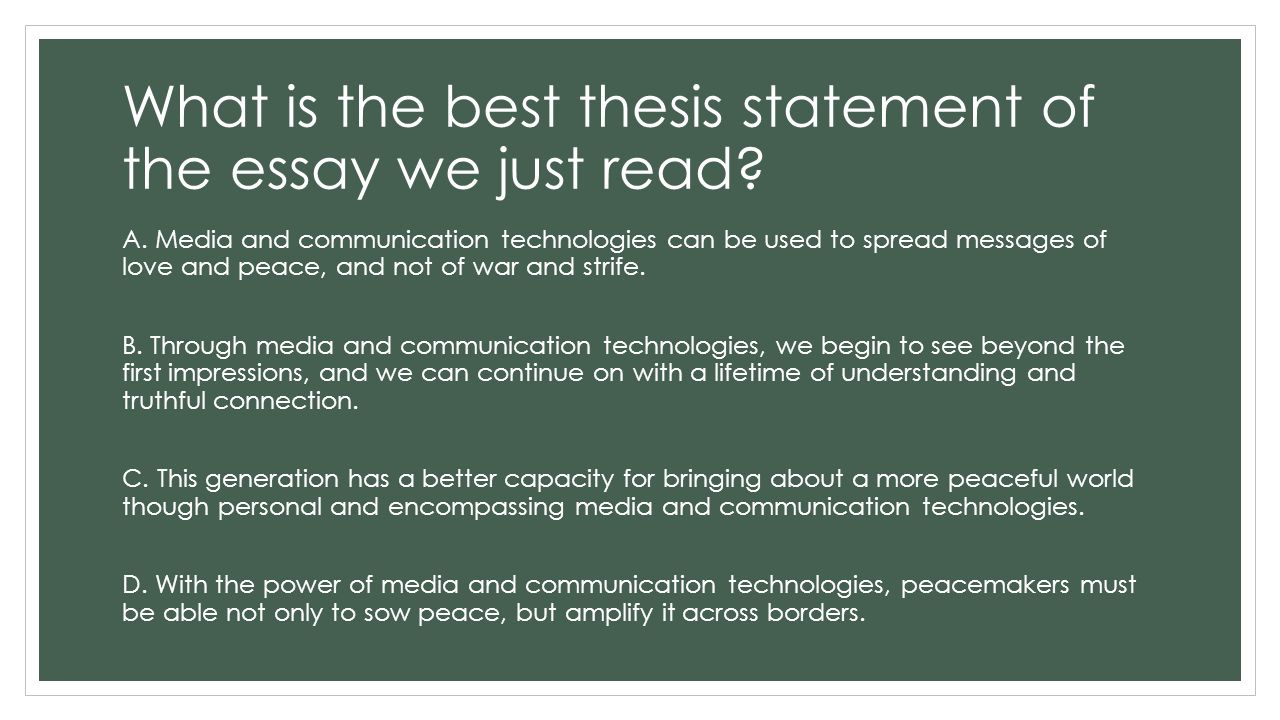 thesis statement communication technology Communication within the workplace beverly mallett-hamer a research paper submitted in partial fulfillment of the requirements for the master of science degree in.
