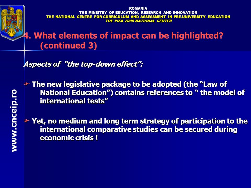 4. What elements of impact can be highlighted (continued 3)