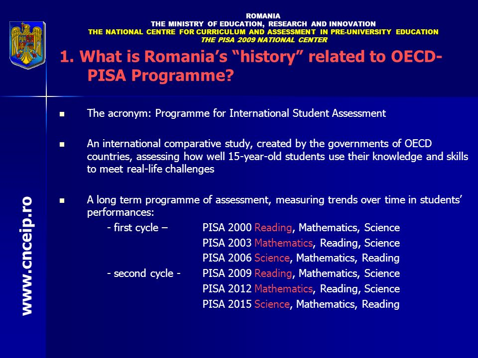 1. What is Romania's history related to OECD-PISA Programme