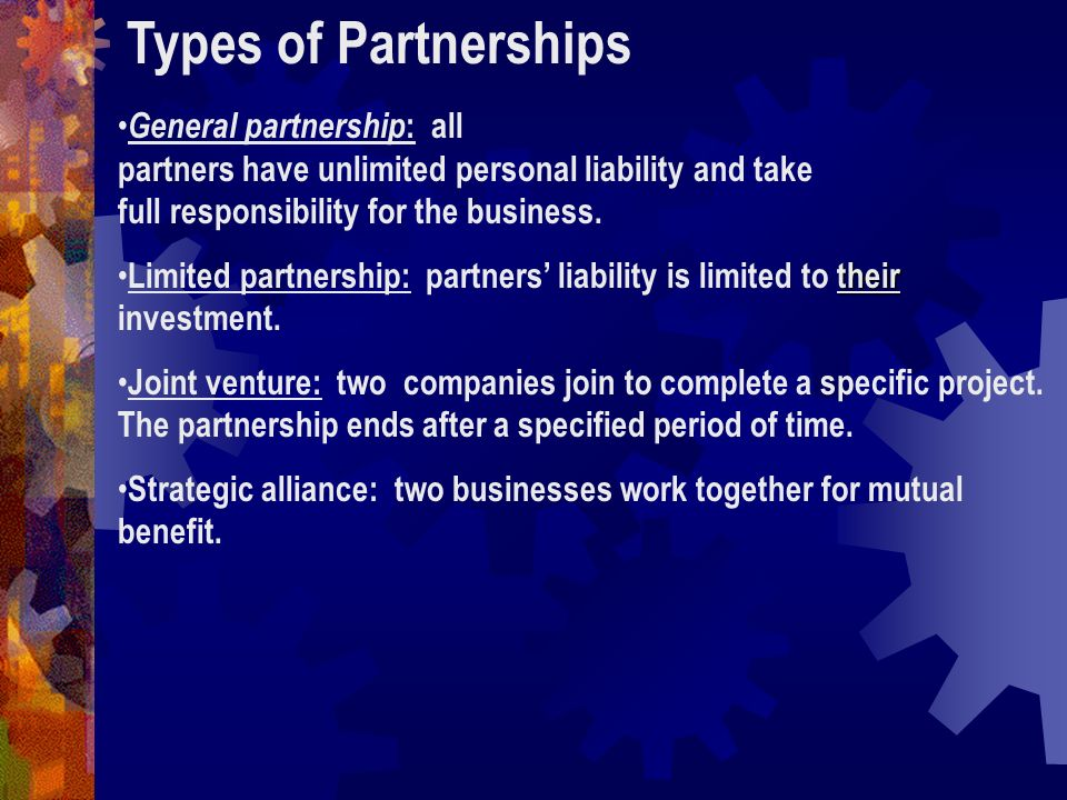 partnership and its types There are three types of partnerships that small-business owners can consider: integration, referral and service-based one just might be the edge you need to take your company to the next level 1.