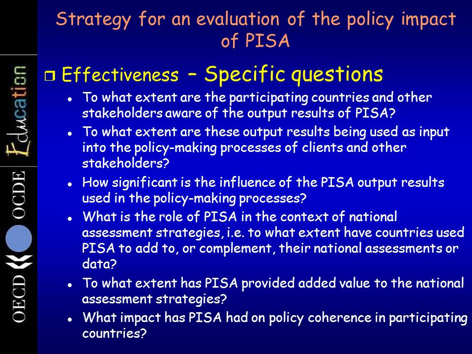Strategy for an evaluation of the policy impact of PISA