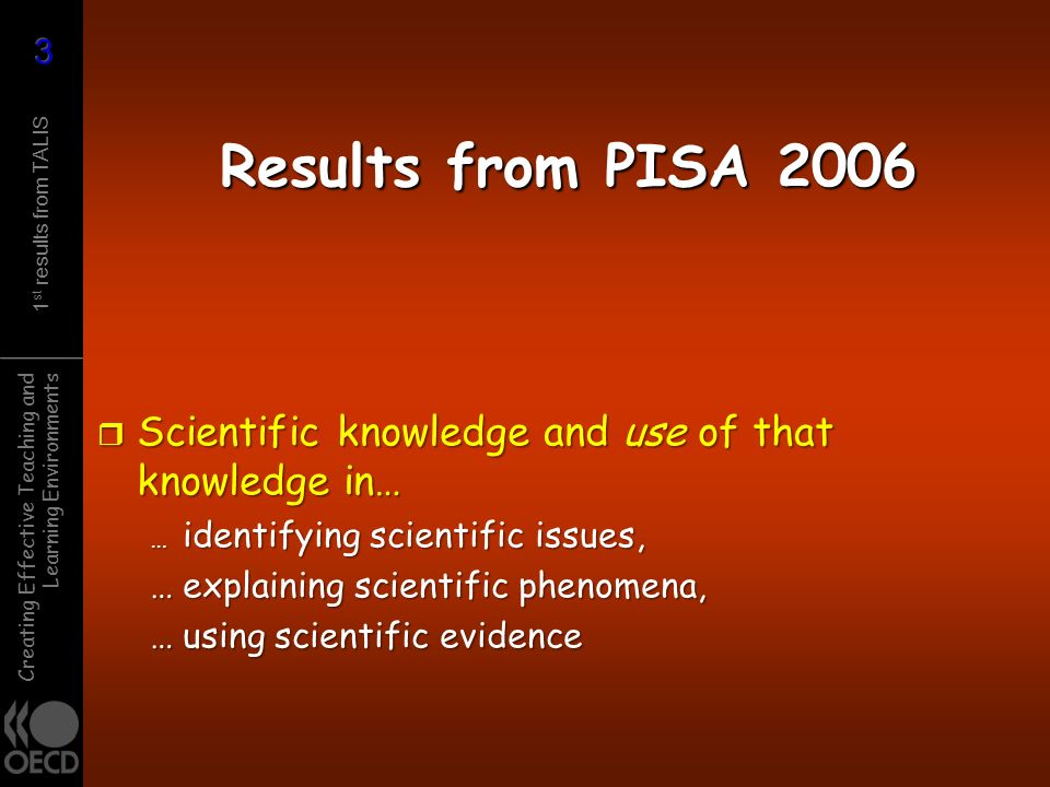 Results from PISA 2006 Scientific knowledge and use of that knowledge in… … identifying scientific issues,
