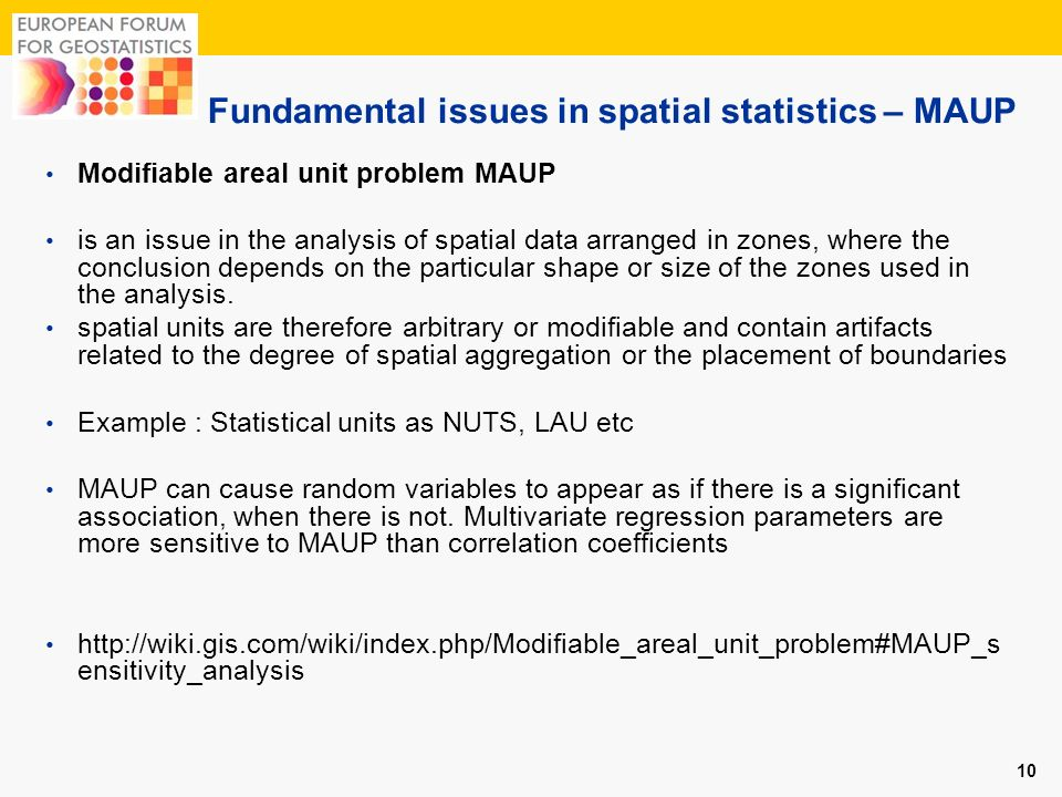 Fundamental issues in spatial statistics – MAUP