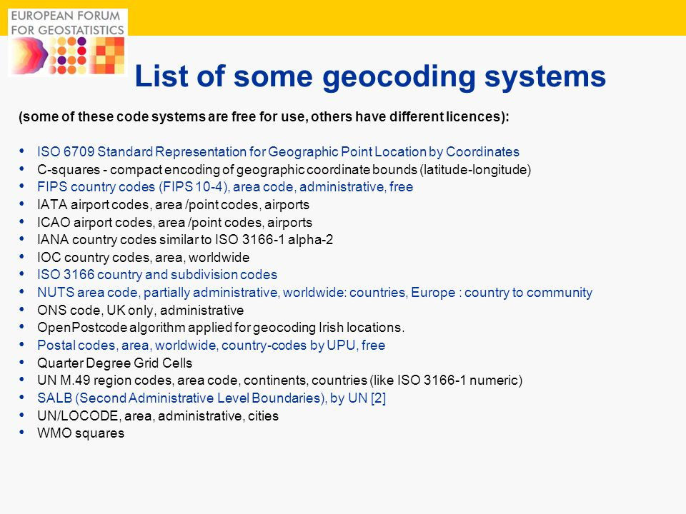 List of some geocoding systems