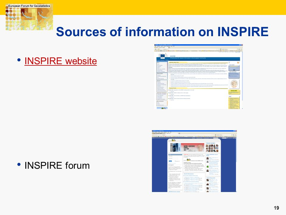 Sources of information on INSPIRE