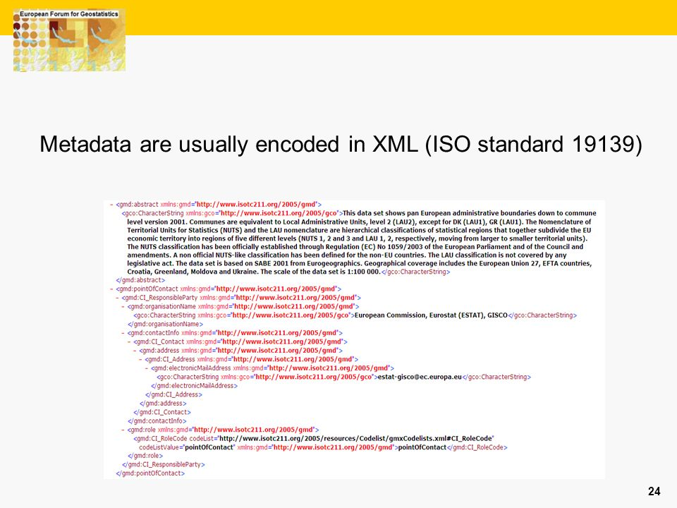 Metadata are usually encoded in XML (ISO standard 19139)