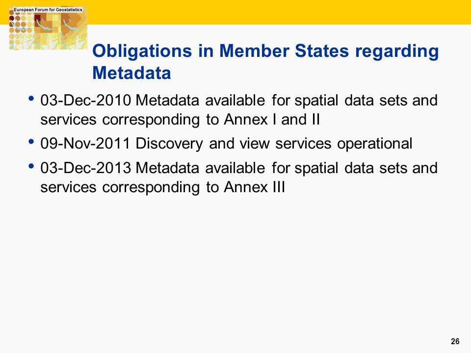 Obligations in Member States regarding Metadata
