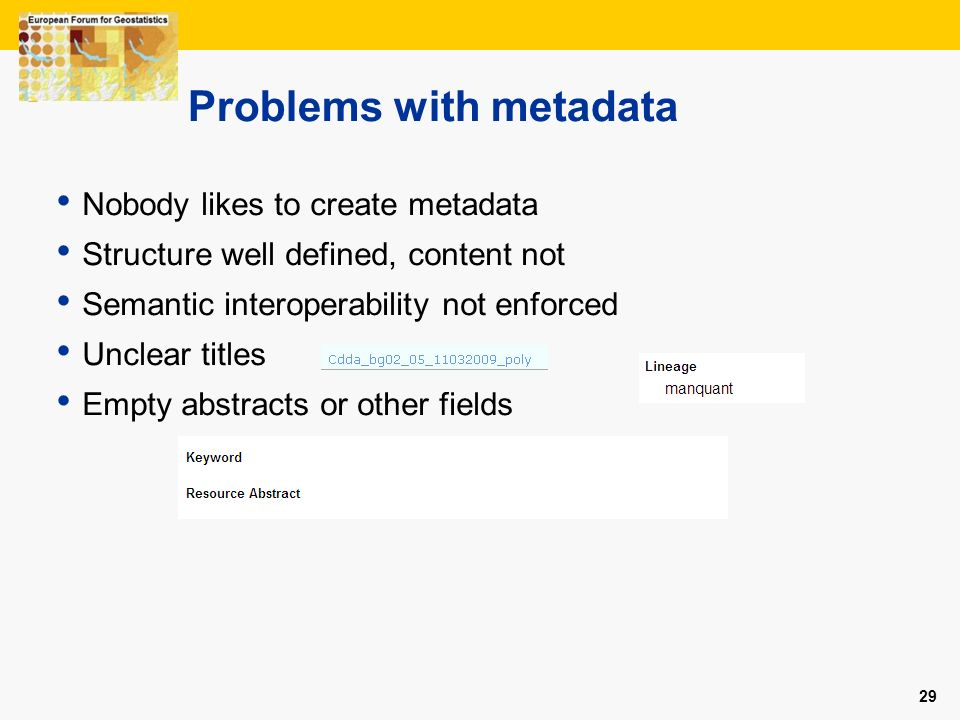 Problems with metadata