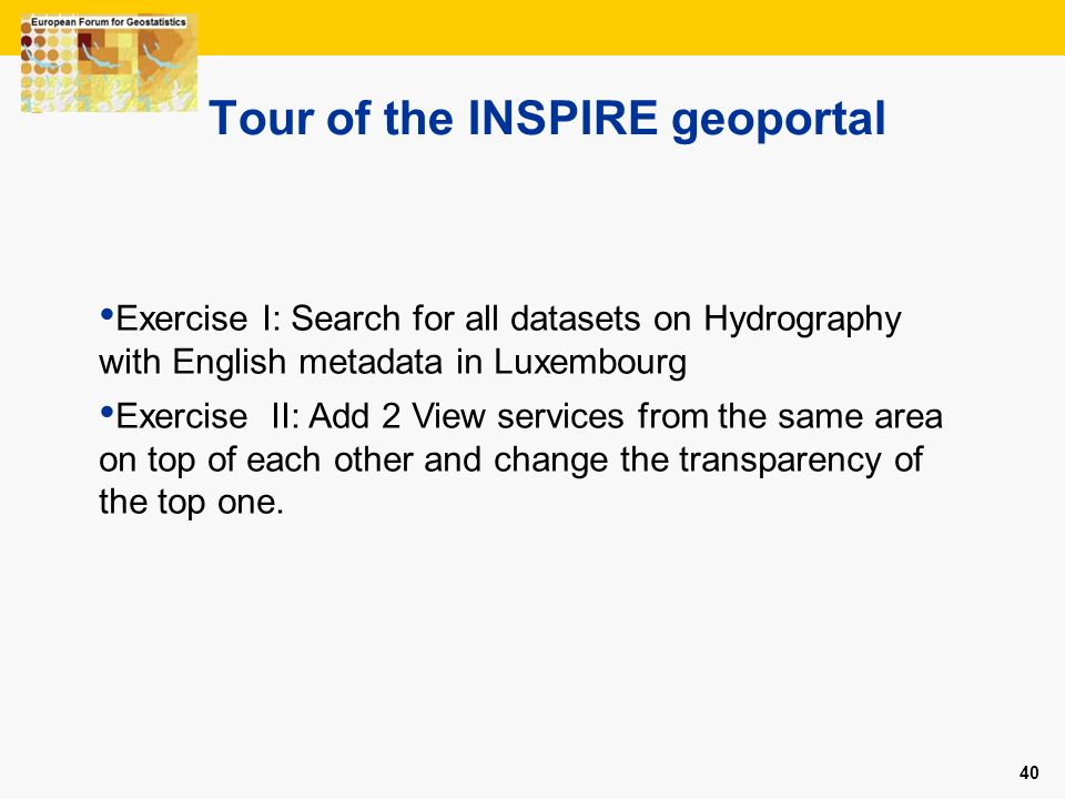 Tour of the INSPIRE geoportal
