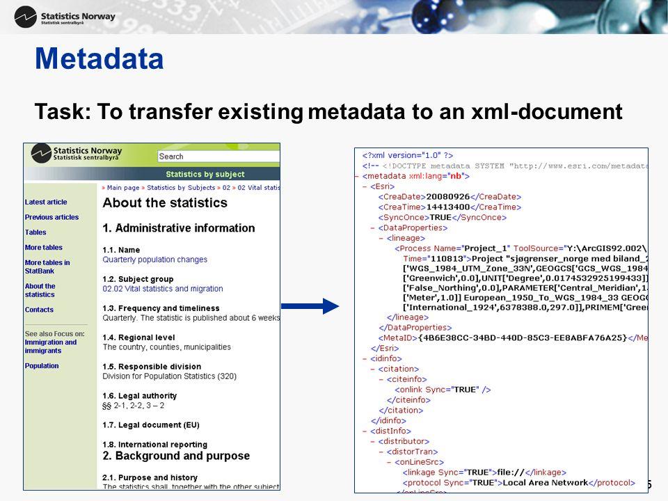 Metadata Task: To transfer existing metadata to an xml-document