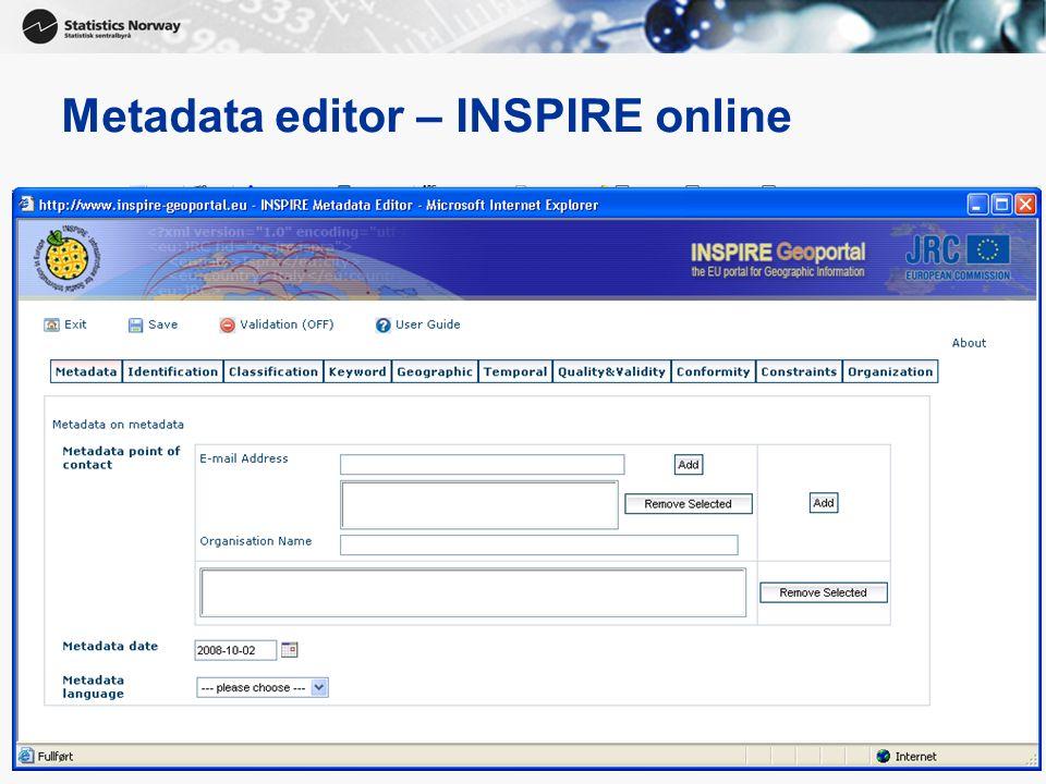 Metadata editor – INSPIRE online