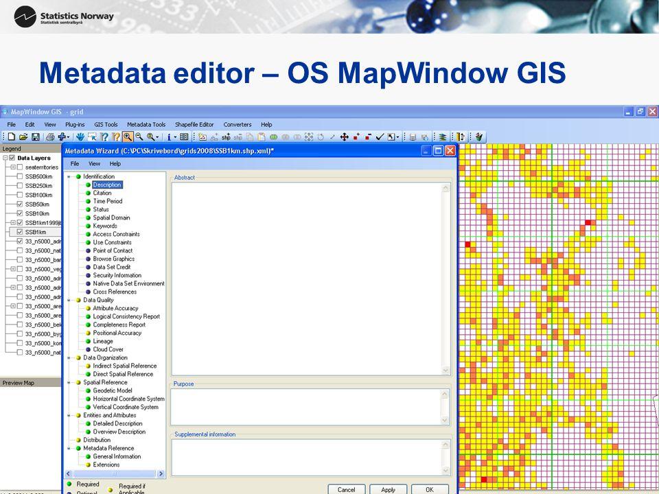 Metadata editor – OS MapWindow GIS