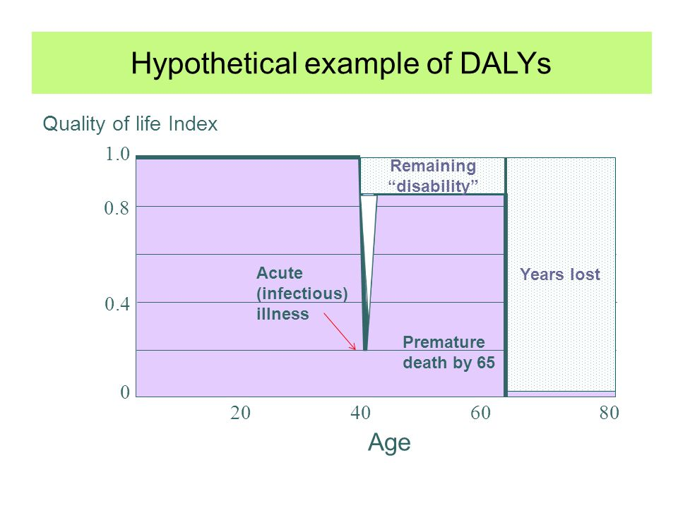 Hypothetical example of DALYs