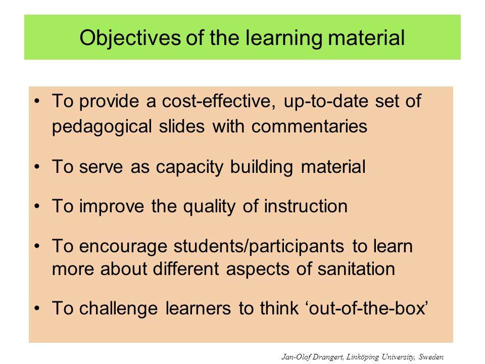 Objectives of the learning material