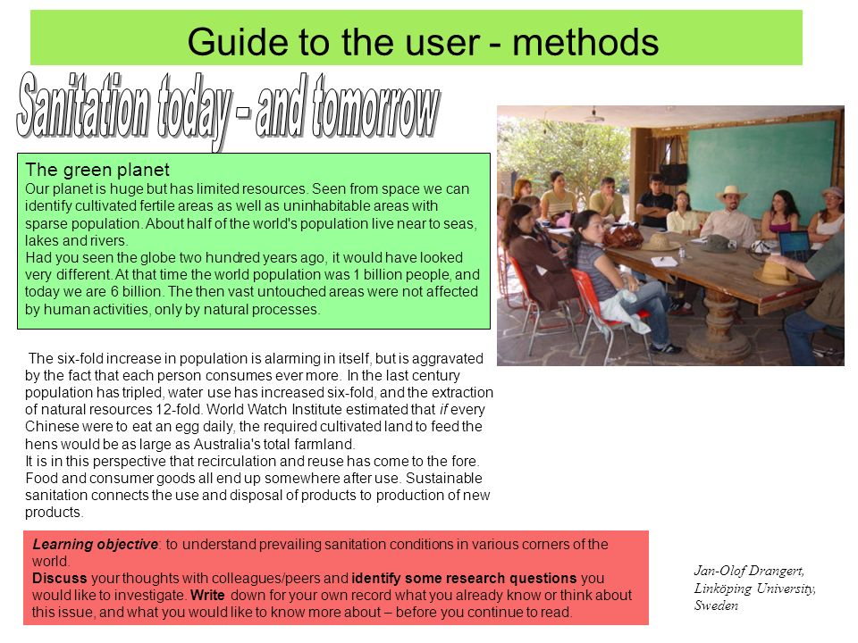 Guide to the user - methods