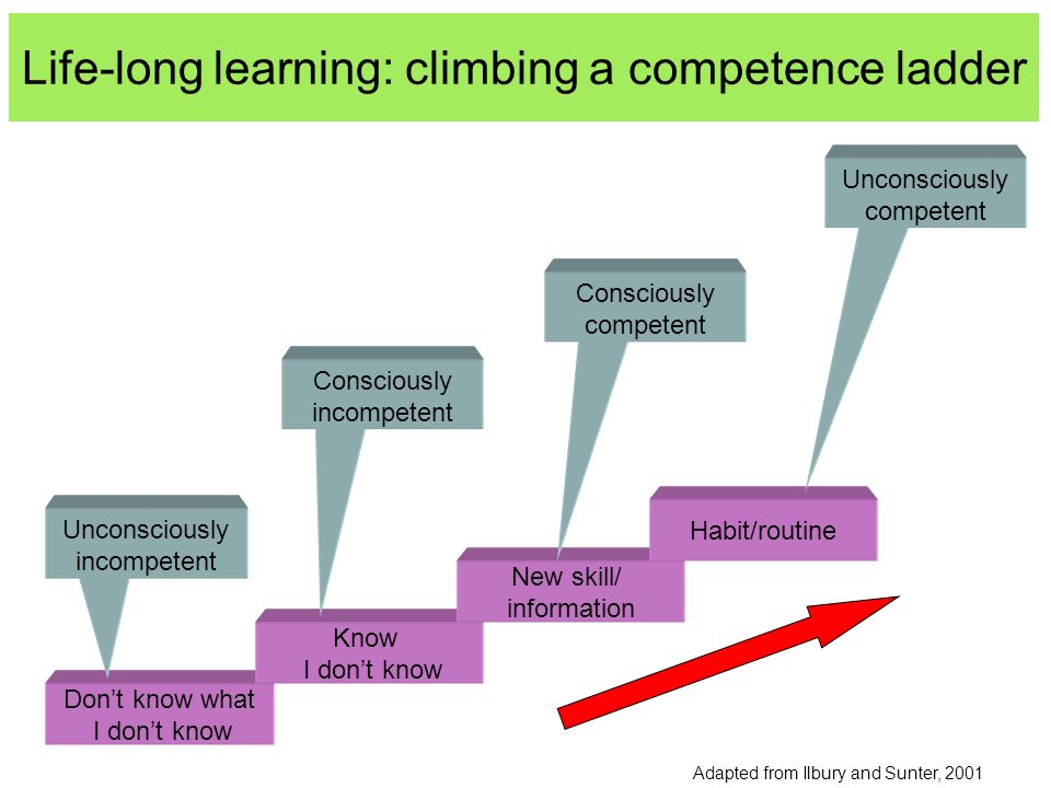 Life-long learning: climbing a competence ladder