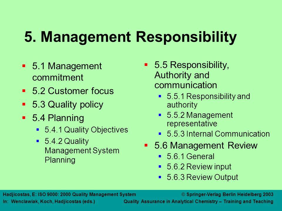 5 MANAGEMENT RESPONSIBILITY 5.1 Management Commitment
