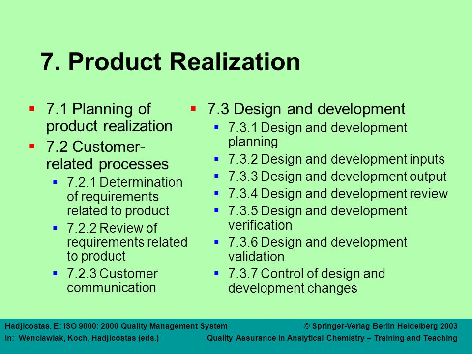 7. Product Realization 7.4 Purchasing