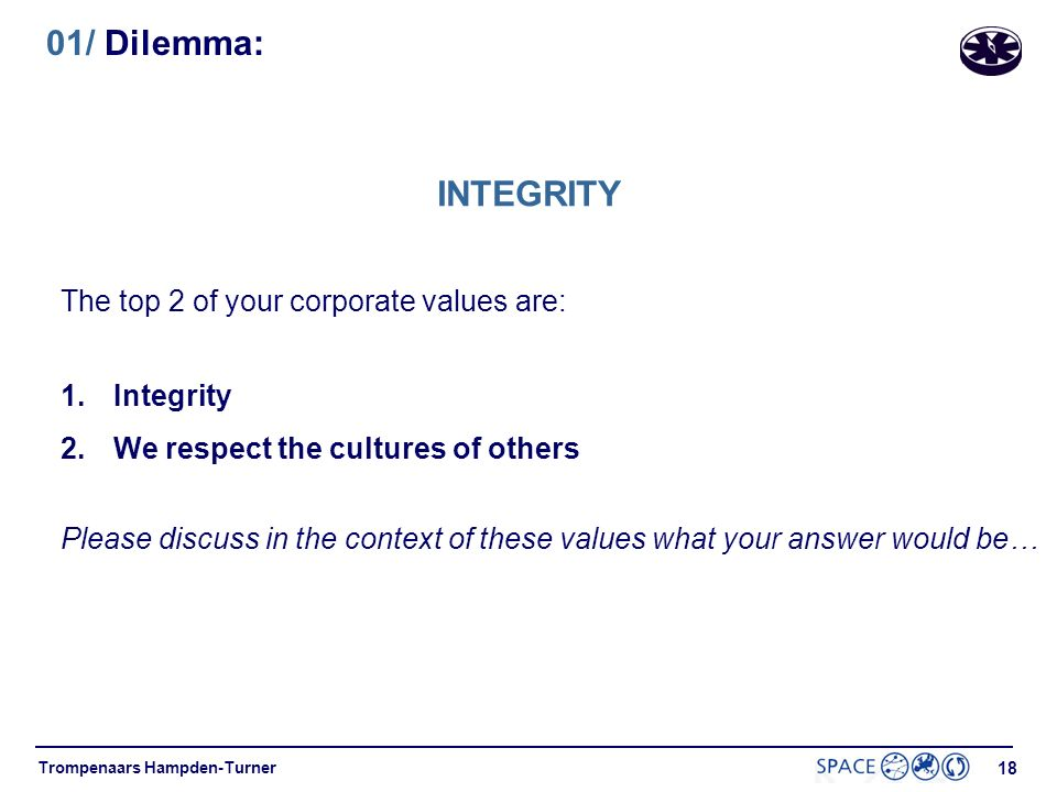 01/ Dilemma: INTEGRITY The top 2 of your corporate values are: