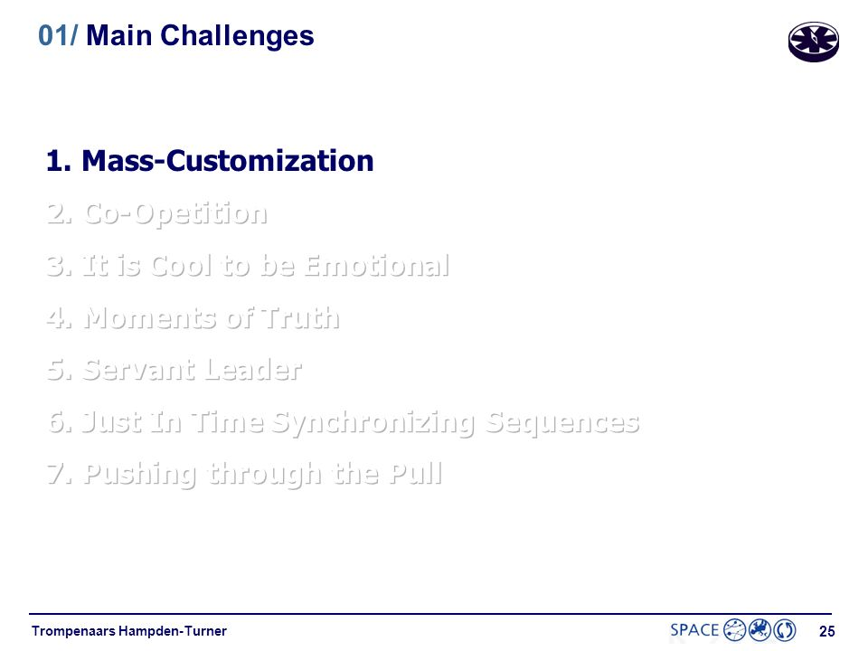 01/ Main Challenges 1. Mass-Customization. 2. Co-Opetition. 3. It is Cool to be Emotional. 4. Moments of Truth.