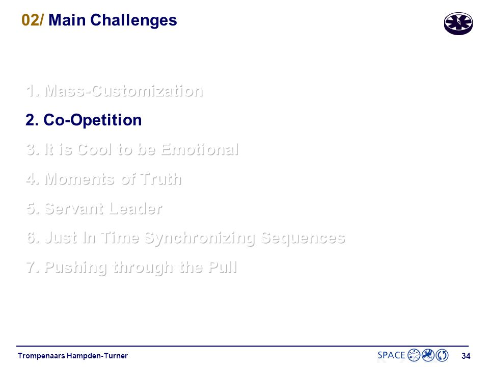 02/ Main Challenges 1. Mass-Customization. 2. Co-Opetition. 3. It is Cool to be Emotional. 4. Moments of Truth.