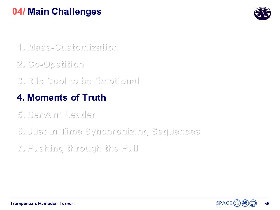 04/ Main Challenges 1. Mass-Customization. 2. Co-Opetition. 3. It is Cool to be Emotional. 4. Moments of Truth.