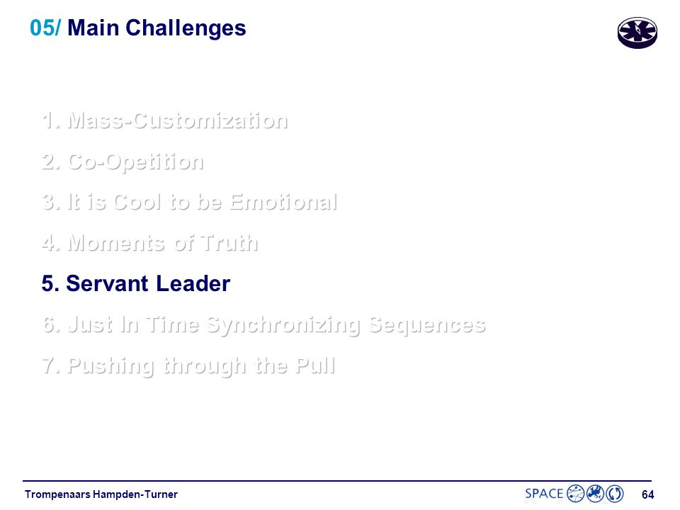05/ Main Challenges 1. Mass-Customization. 2. Co-Opetition. 3. It is Cool to be Emotional. 4. Moments of Truth.