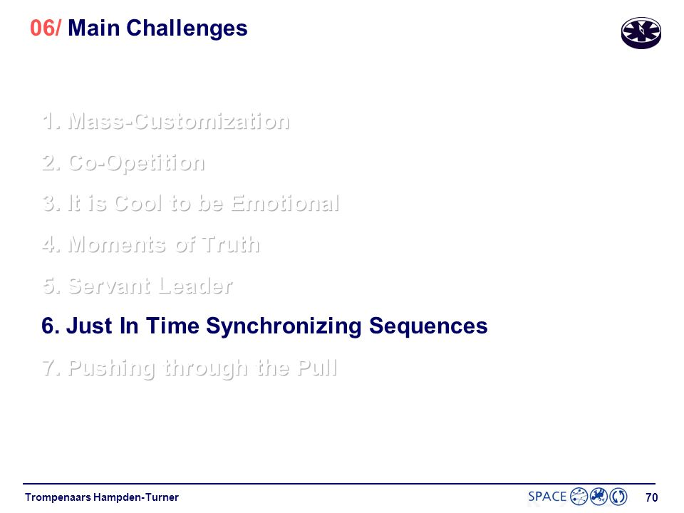 06/ Main Challenges 1. Mass-Customization. 2. Co-Opetition. 3. It is Cool to be Emotional. 4. Moments of Truth.