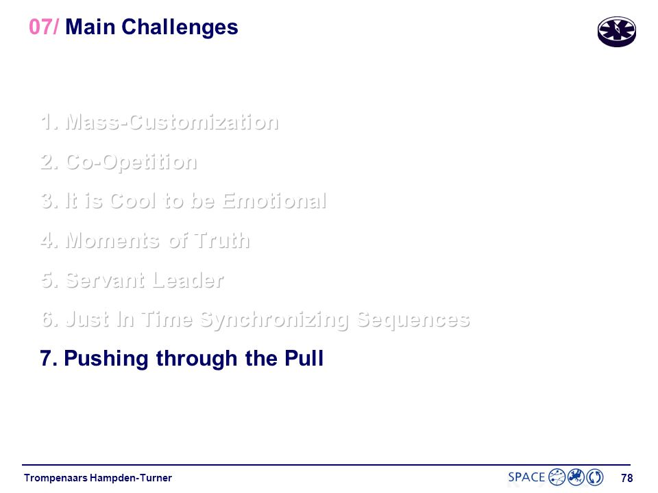 07/ Main Challenges 1. Mass-Customization. 2. Co-Opetition. 3. It is Cool to be Emotional. 4. Moments of Truth.