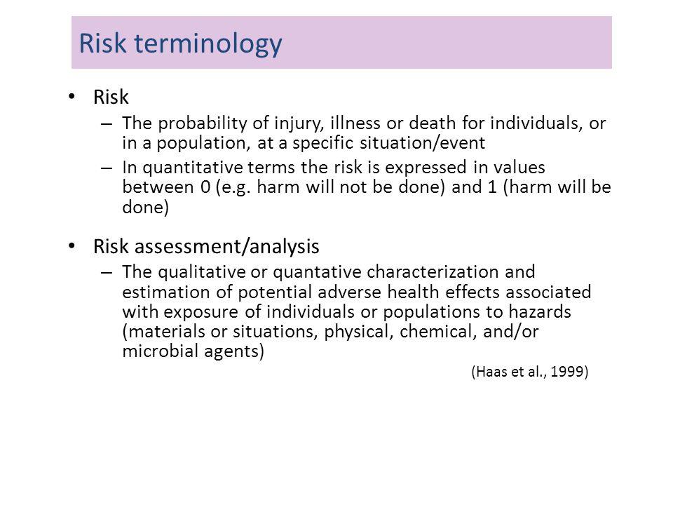 Risk terminology Risk Risk assessment/analysis