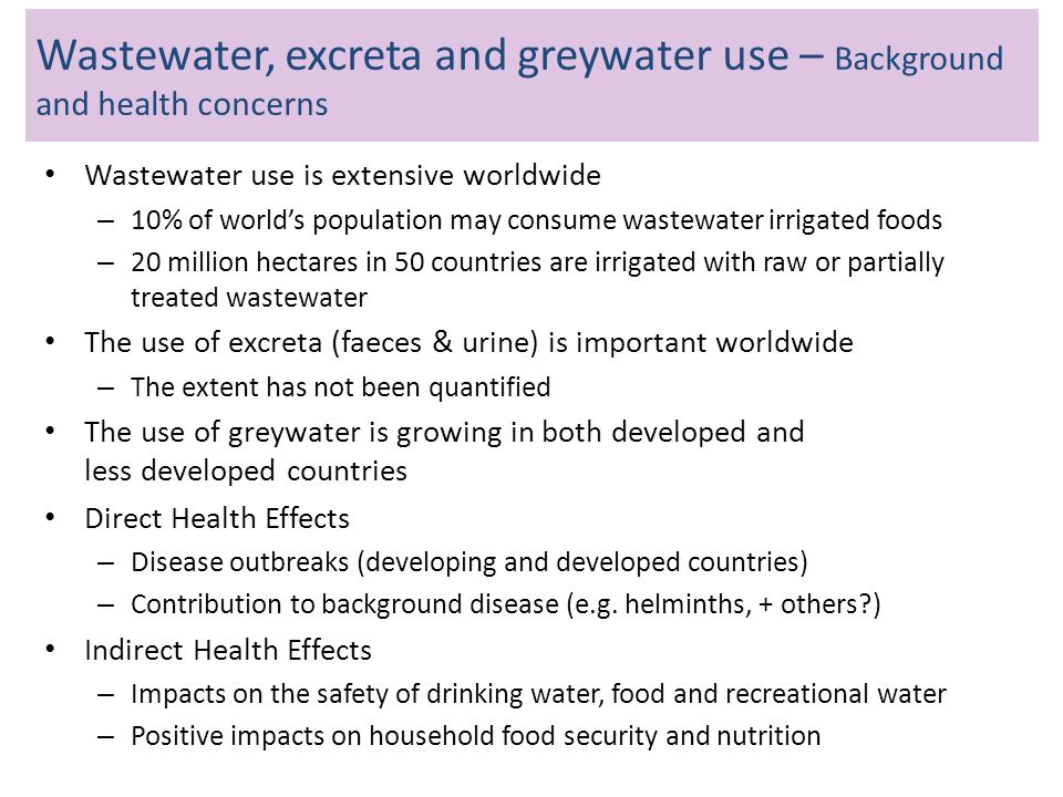 Wastewater, excreta and greywater use – Background and health concerns