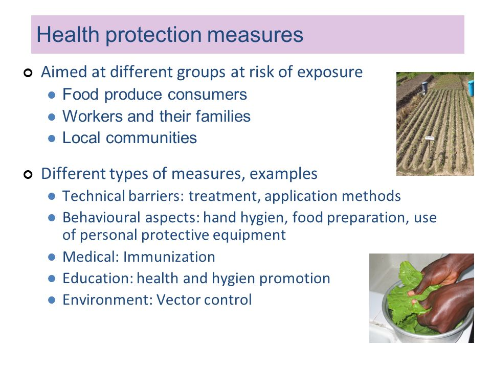 Health protection measures