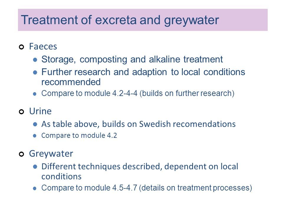 Treatment of excreta and greywater