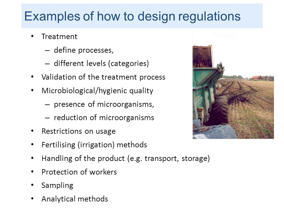 Examples of how to design regulations