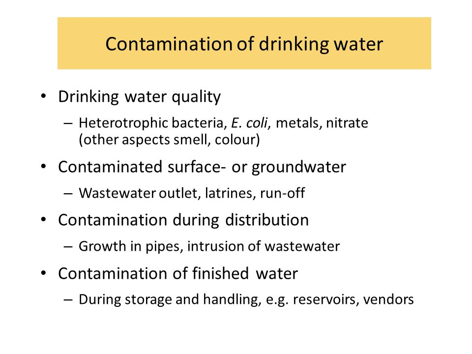 Contamination of drinking water