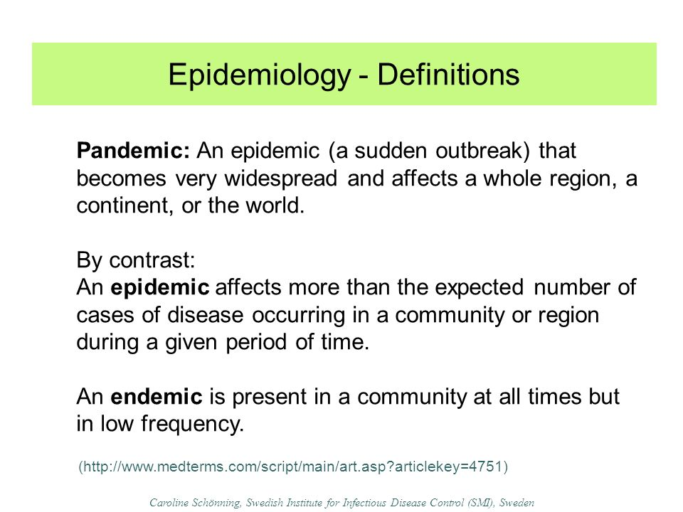 Epidemiology - Definitions