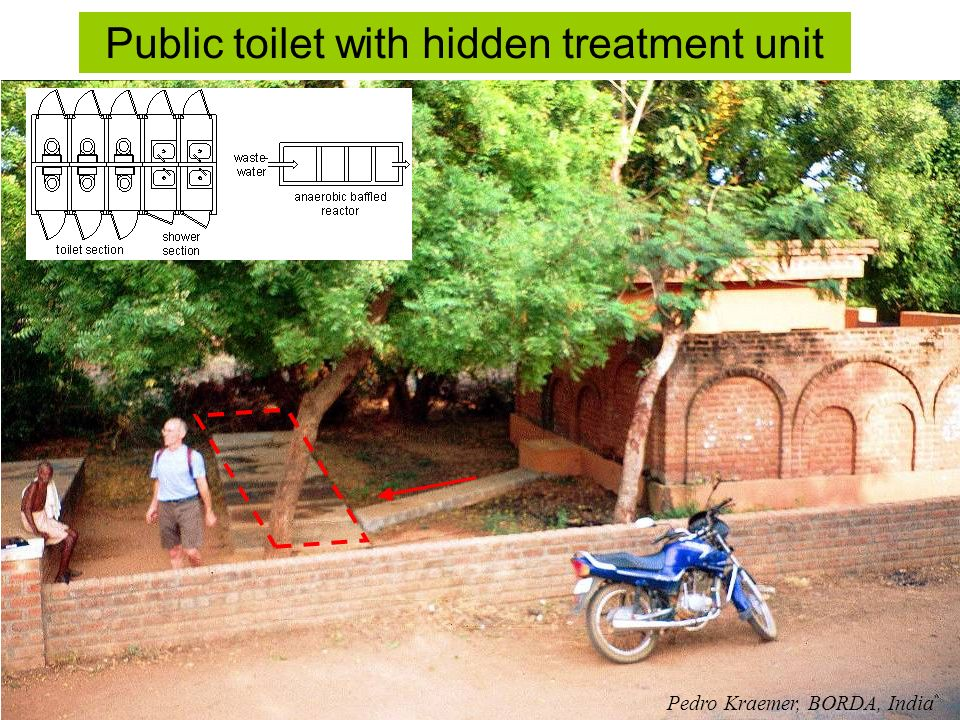 Public toilet with hidden treatment unit