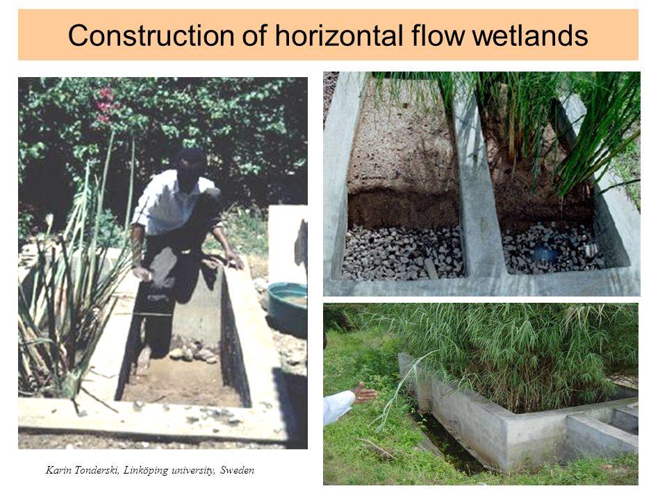 Construction of horizontal flow wetlands