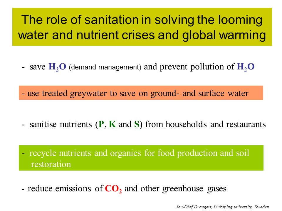 The role of sanitation in solving the looming water and nutrient crises and global warming