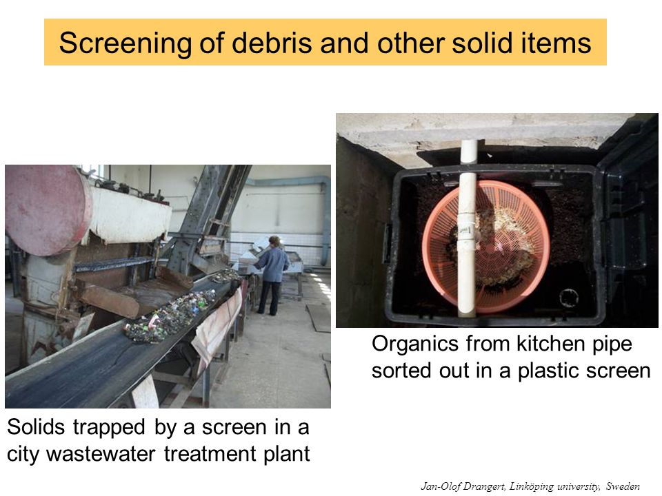 Screening of debris and other solid items