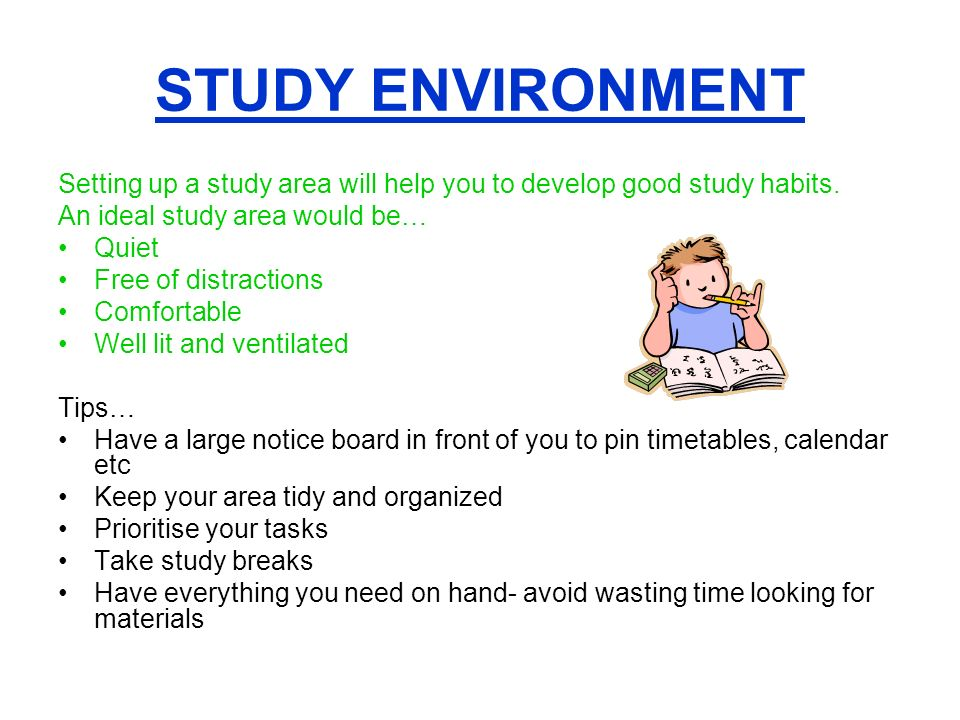 environmental distractions to study habits essay Good study habits to maximise learning  for instance in an essay  eliminate distractions while studying study in widely varying contexts.