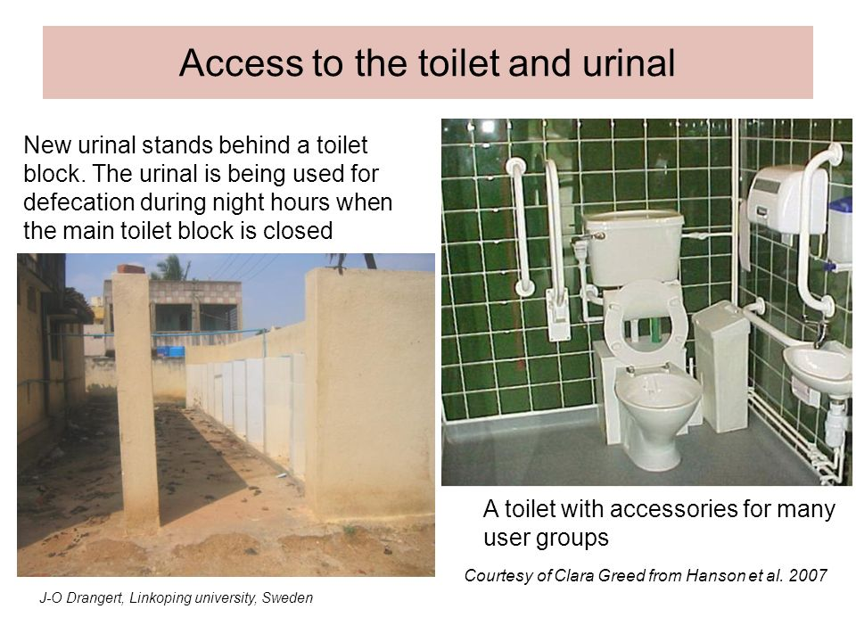 Access to the toilet and urinal