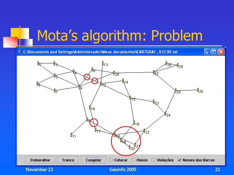Mota's algorithm: Problem