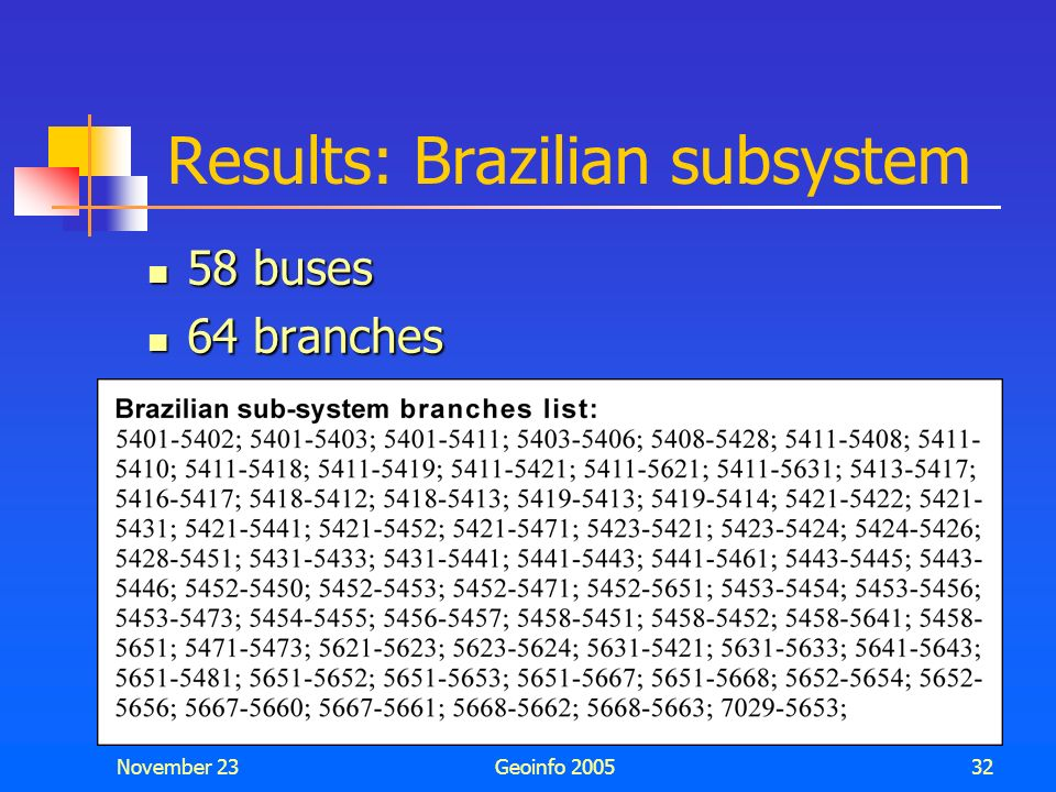 Results: Brazilian subsystem