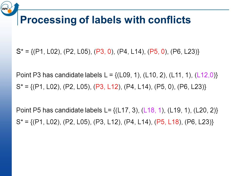 Processing of labels with conflicts