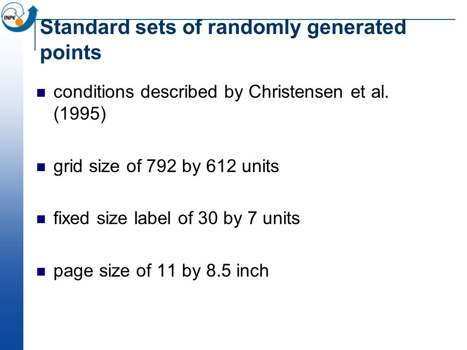 Standard sets of randomly generated points