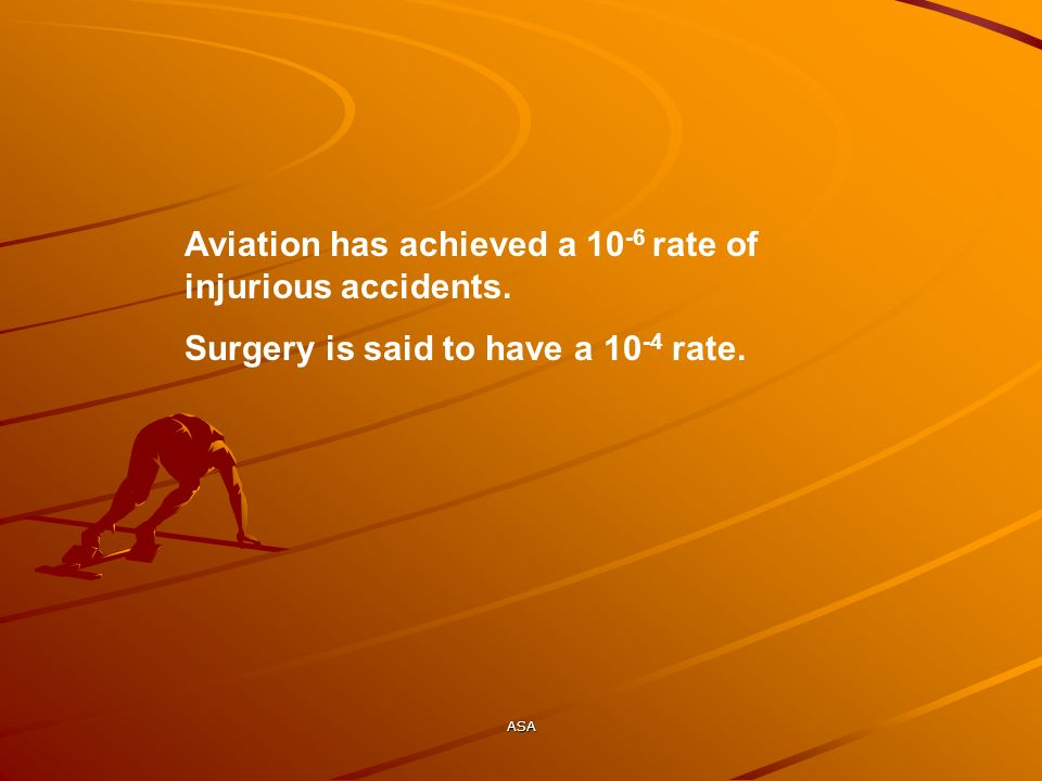 Aviation has achieved a 10-6 rate of injurious accidents.