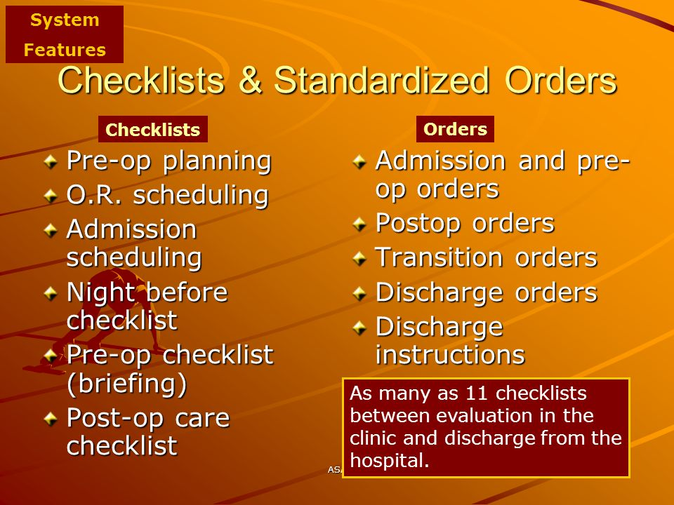 Checklists & Standardized Orders