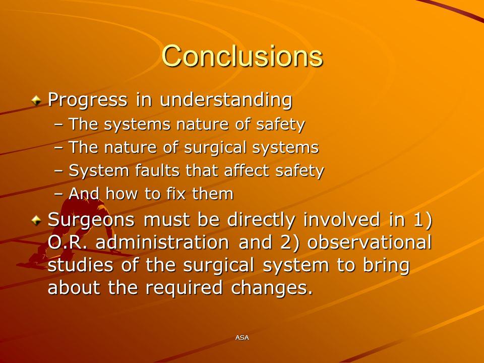 Conclusions Progress in understanding
