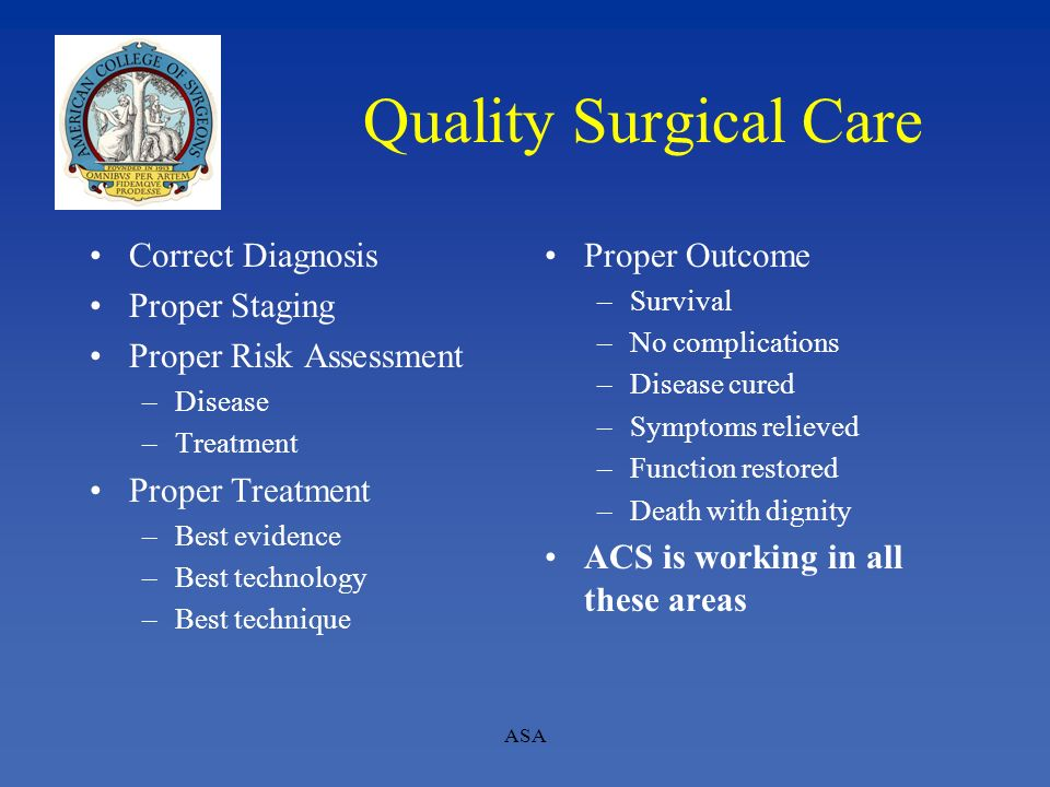 Quality Surgical Care Correct Diagnosis Proper Staging